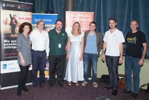 Kristina Cooke  with all the finalists - Ken Thaine, Peter Watt, Kathy Sheehan, Justin Clarke, Peter Watt