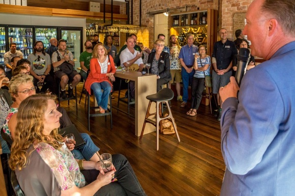 October Salon - Brendan talking to crowd