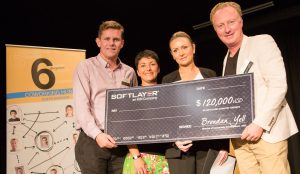 Anthony Jephcott, Telstra with Nanette Backhouse and Leanne Taylor of MatchMyRide and Brendan Yell, Softlayer